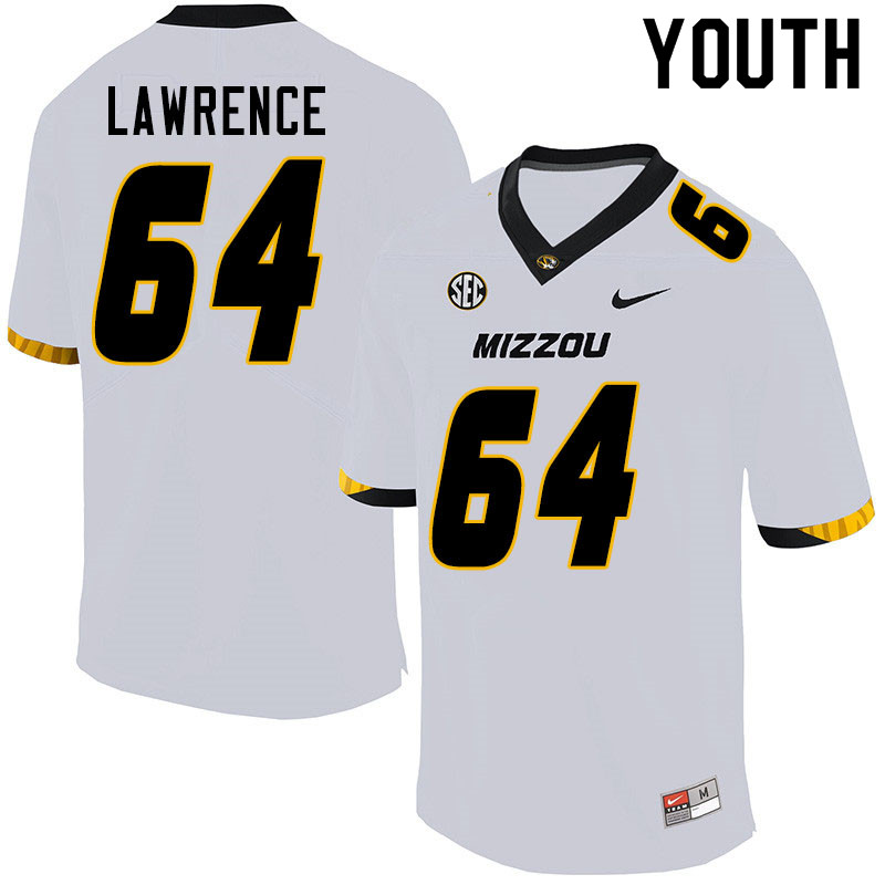 Youth #64 Bobby Lawrence Missouri Tigers College Football Jerseys Sale-White